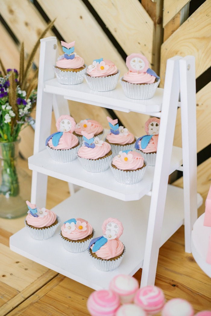 Boho Themed Cupcakes from a Boho Birthday Party on Kara's Party Ideas | KarasPartyIdeas.com (29)