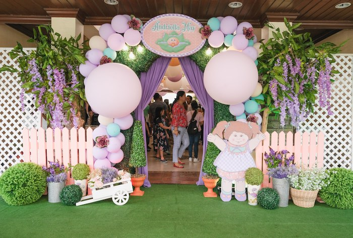Cabbage Patch Themed Balloon Arch/Garden Entrance from a Cabbage Patch Doll Birthday Party on Kara's Party Ideas | KarasPartyIdeas.com (25)