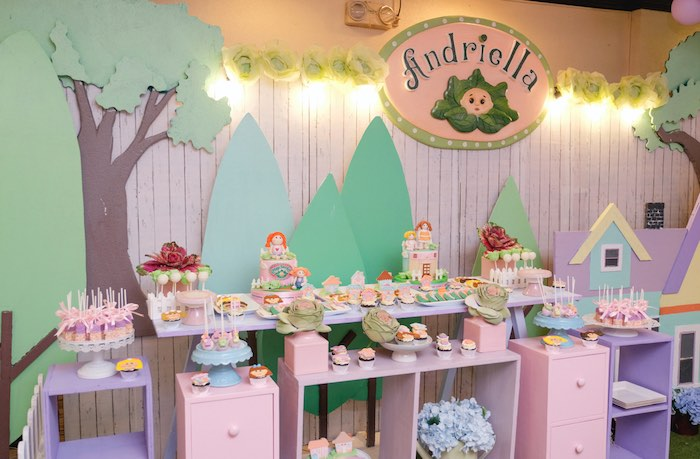 Cabbage Patch Themed Dessert Spread from a Cabbage Patch Doll Birthday Party on Kara's Party Ideas | KarasPartyIdeas.com (24)