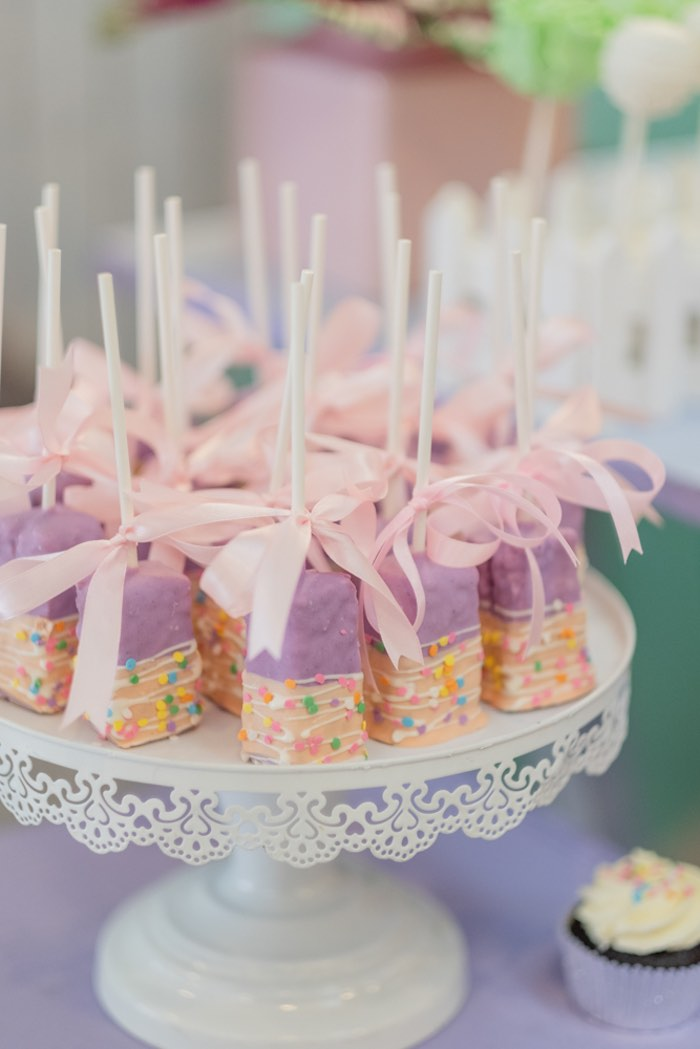 Purple Rice Krispie Treat Pops from a Cabbage Patch Doll Birthday Party on Kara's Party Ideas | KarasPartyIdeas.com (23)