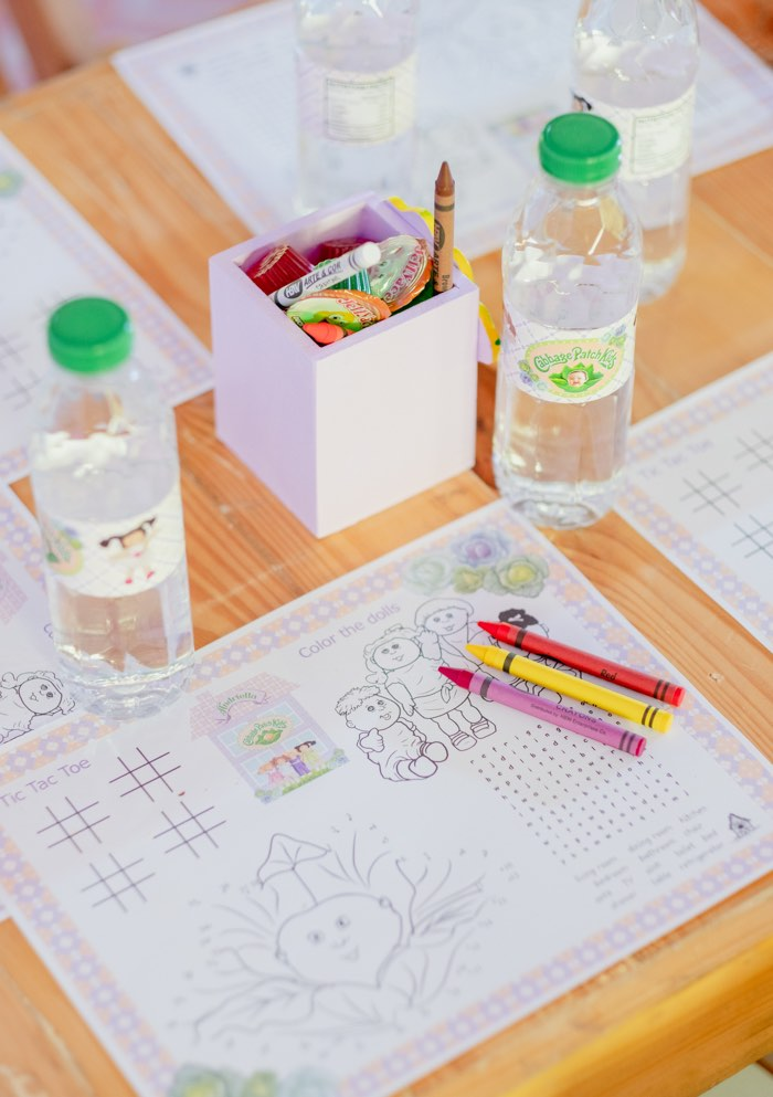 Kid Coloring Page Table Setting from a Cabbage Patch Doll Birthday Party on Kara's Party Ideas | KarasPartyIdeas.com (14)