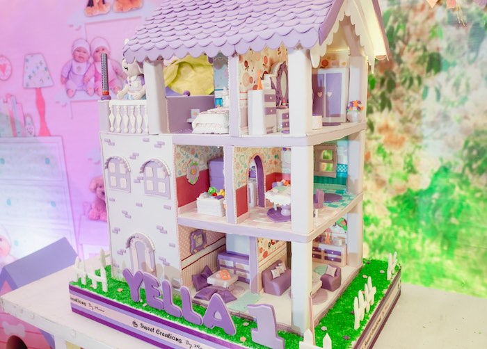 Incredible DOLL HOUSE CAKE from a Cabbage Patch Doll Birthday Party on Kara's Party Ideas | KarasPartyIdeas.com (4)
