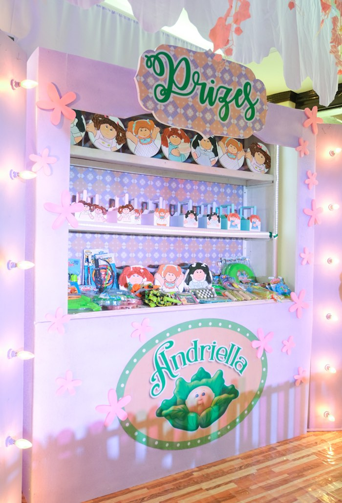 Cabbage Patch Themed Favor Shelf from a Cabbage Patch Doll Birthday Party on Kara's Party Ideas | KarasPartyIdeas.com (31)