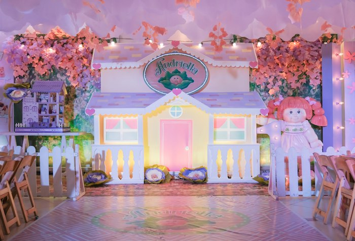 Doll House Backdrop + Stage from a Cabbage Patch Doll Birthday Party on Kara's Party Ideas | KarasPartyIdeas.com (30)