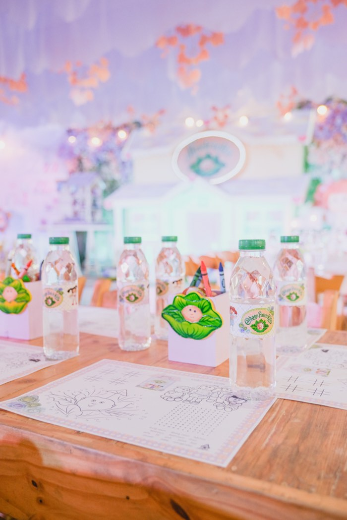 Cabbage Patch Themed Kid Table Setting from a Cabbage Patch Doll Birthday Party on Kara's Party Ideas | KarasPartyIdeas.com (28)