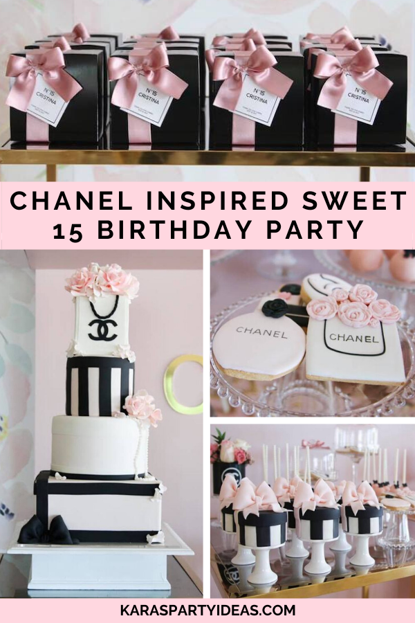 Remarkable Karas Party Ideas Chanel Inspired Sweet 15 Birthday Party Personalised Birthday Cards Paralily Jamesorg