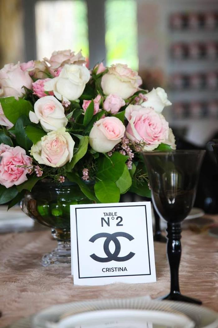Chanel-inspired Table Card + Stationery from a Chanel Inspired Sweet 15 Birthday Party on Kara's Party Ideas | KarasPartyIdeas.com (11)