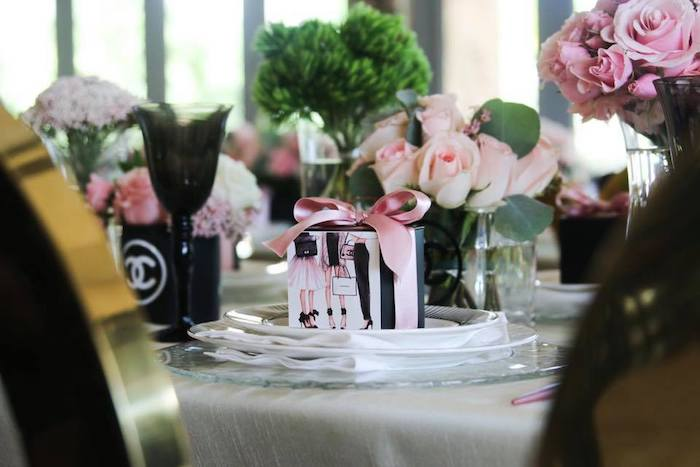 Chanel-inspired Gift Box + Table Setting from a Chanel Inspired Sweet 15 Birthday Party on Kara's Party Ideas | KarasPartyIdeas.com (22)