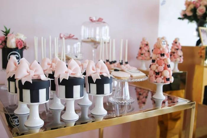 Mini Hat + Gift Box Cakes on Pedestals from a Chanel Inspired Sweet 15 Birthday Party on Kara's Party Ideas | KarasPartyIdeas.com (21)
