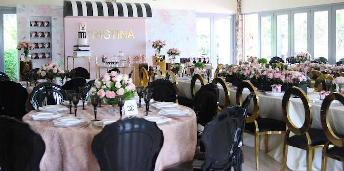 Chic Black + Pink + Gold Party Tables from a Chanel Inspired Sweet 15 Birthday Party on Kara's Party Ideas | KarasPartyIdeas.com (19)