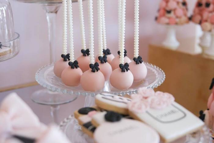 Chanel-inspired Cake Pops from a Chanel Inspired Sweet 15 Birthday Party on Kara's Party Ideas | KarasPartyIdeas.com (17)