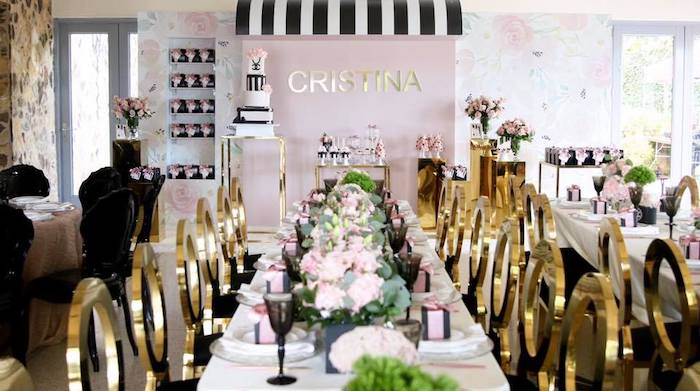 Pink + Gold Party Table from a Chanel Inspired Sweet 15 Birthday Party on Kara's Party Ideas | KarasPartyIdeas.com (16)