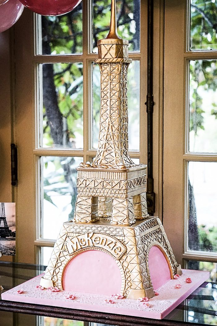 Gold Eiffel Tower Cake from a Chic Paris Party on Kara's Party Ideas | KarasPartyIdeas.com (15)