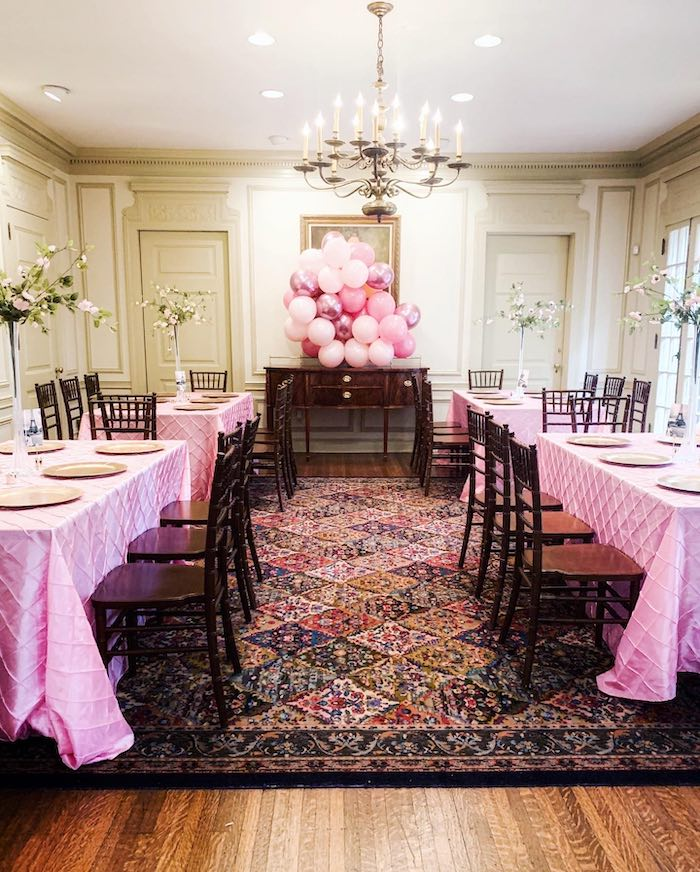 Elegant Pink-lined Guest Tables from a Chic Paris Party on Kara's Party Ideas | KarasPartyIdeas.com (11)