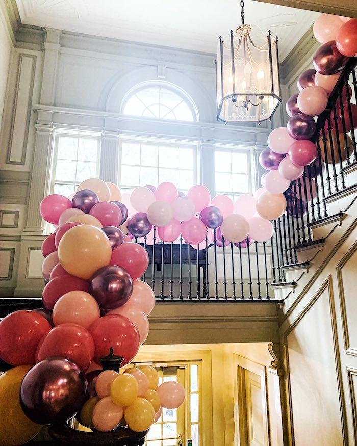 Staircase Balloon Garland from a Chic Paris Party on Kara's Party Ideas | KarasPartyIdeas.com (10)