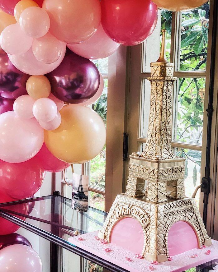 Eiffel Tower Cake from a Chic Paris Party on Kara's Party Ideas | KarasPartyIdeas.com (9)