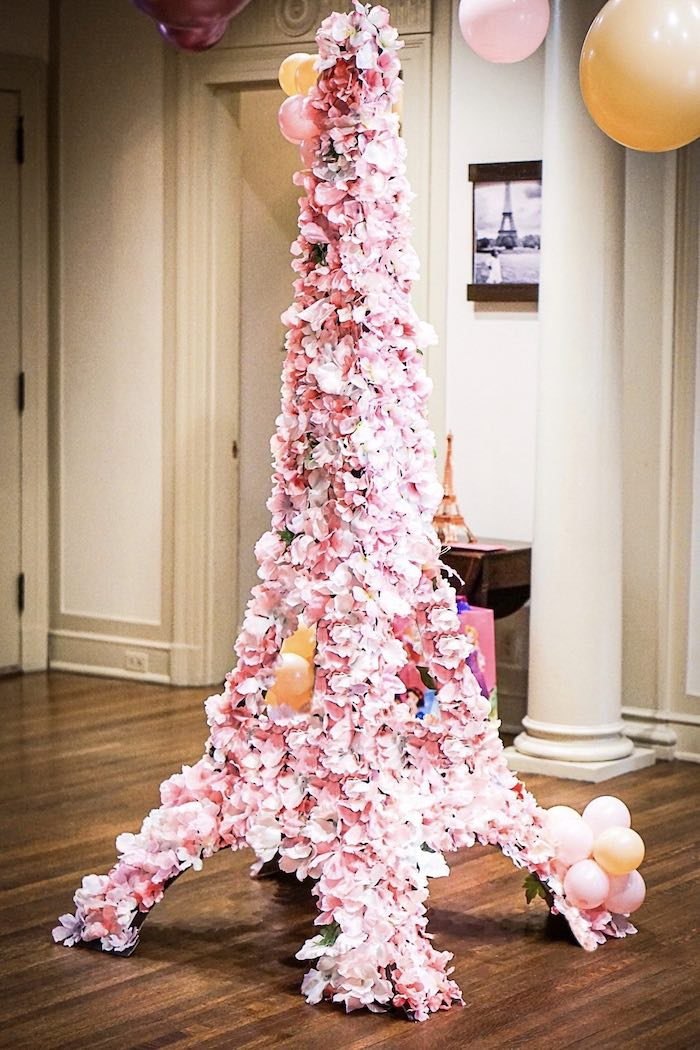 Floral Eiffel Tower Install from a Chic Paris Party on Kara's Party Ideas | KarasPartyIdeas.com (21)