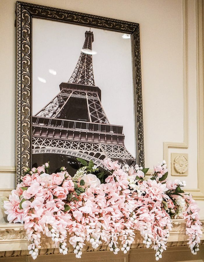 Eiffel Tower Print + Floral Spray from a Chic Paris Party on Kara's Party Ideas | KarasPartyIdeas.com (20)