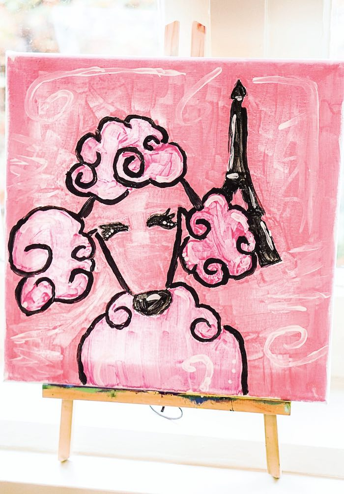 Painted Pink Poodle from a Chic Paris Party on Kara's Party Ideas | KarasPartyIdeas.com (19)