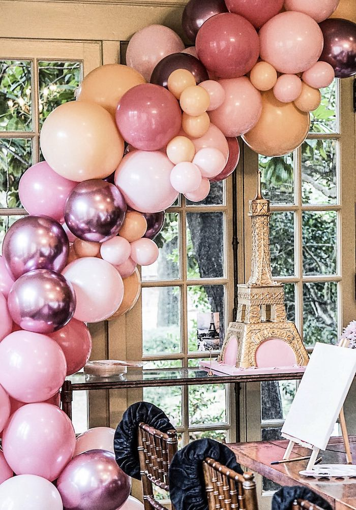 Eiffel Tower Cake Table with Balloon Install from a Chic Paris Party on Kara's Party Ideas | KarasPartyIdeas.com (18)