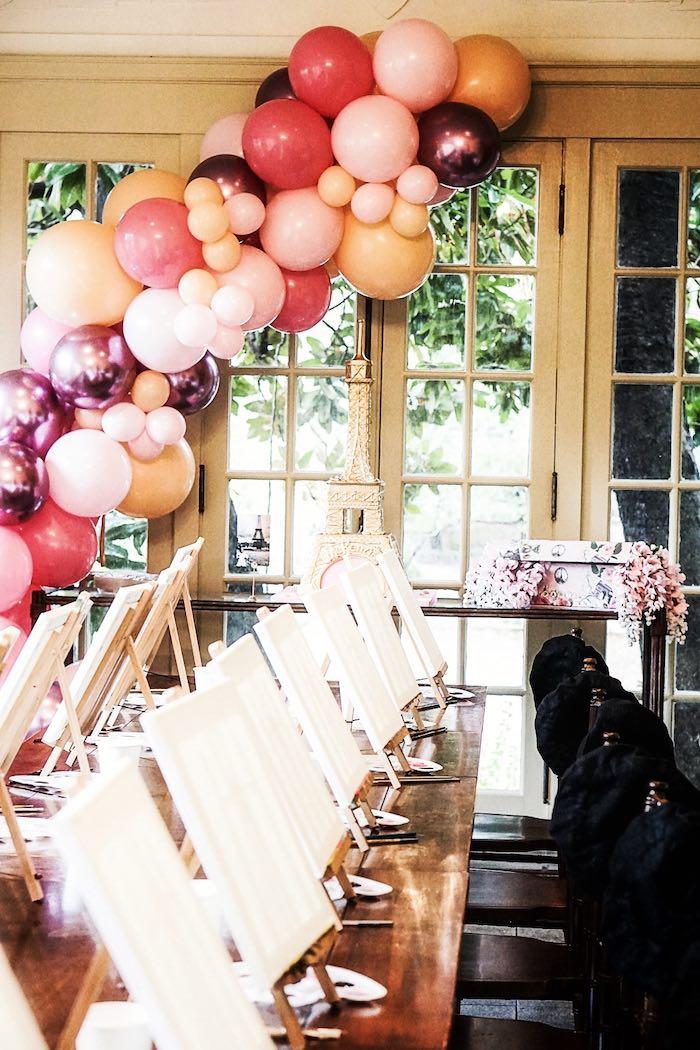 Parisian Themed Art Table from a Chic Paris Party on Kara's Party Ideas | KarasPartyIdeas.com (16)