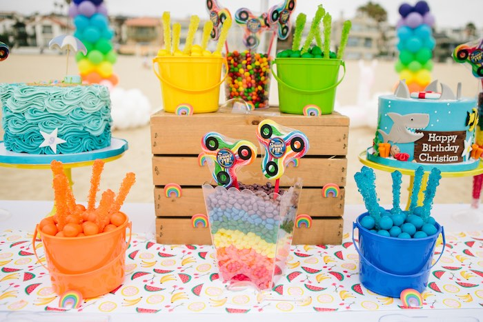 Rainbow Party Table from a Colorful Seaside Birthday Party on Kara's Party Ideas | KarasPartyIdeas.com (21)