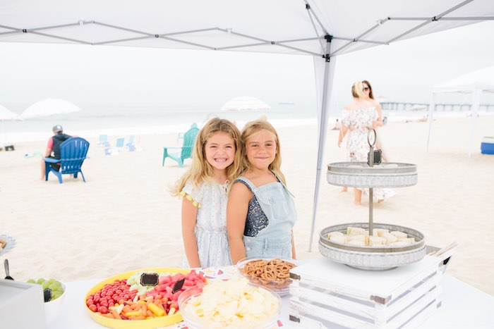Beach Front Food Table from a Colorful Seaside Birthday Party on Kara's Party Ideas | KarasPartyIdeas.com (17)