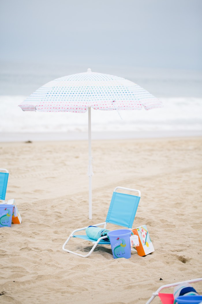 Beach Umbrella with Chair from a Colorful Seaside Birthday Party on Kara's Party Ideas | KarasPartyIdeas.com (33)