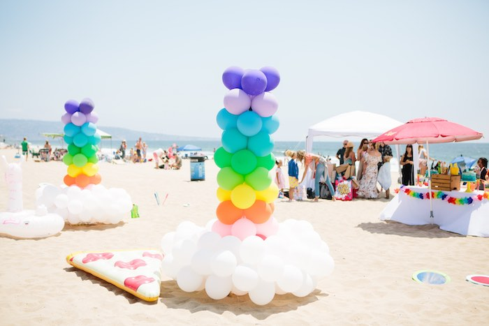 Rainbow Cloud Balloon Installs from a Colorful Seaside Birthday Party on Kara's Party Ideas | KarasPartyIdeas.com (11)