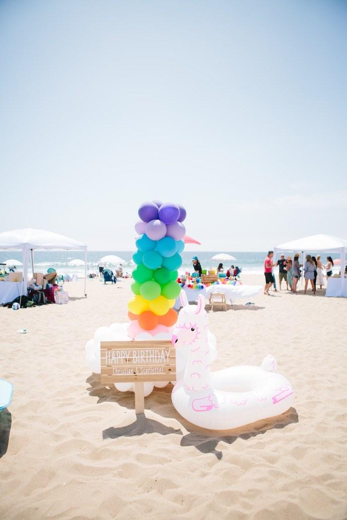 Happy Birthday Balloon Install from a Colorful Seaside Birthday Party on Kara's Party Ideas | KarasPartyIdeas.com (9)