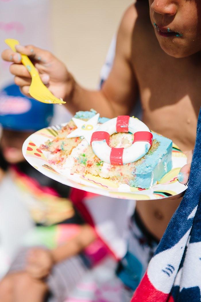 Beach Cake from a Colorful Seaside Birthday Party on Kara's Party Ideas | KarasPartyIdeas.com (5)