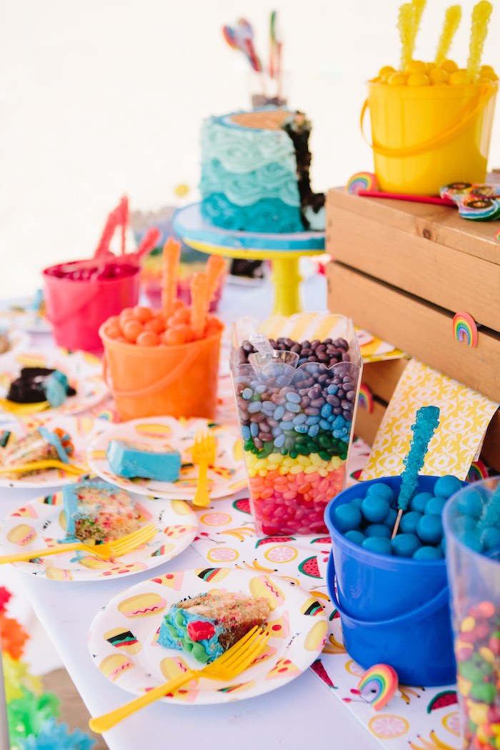 Rainbow Party Table from a Colorful Seaside Birthday Party on Kara's Party Ideas | KarasPartyIdeas.com (4)