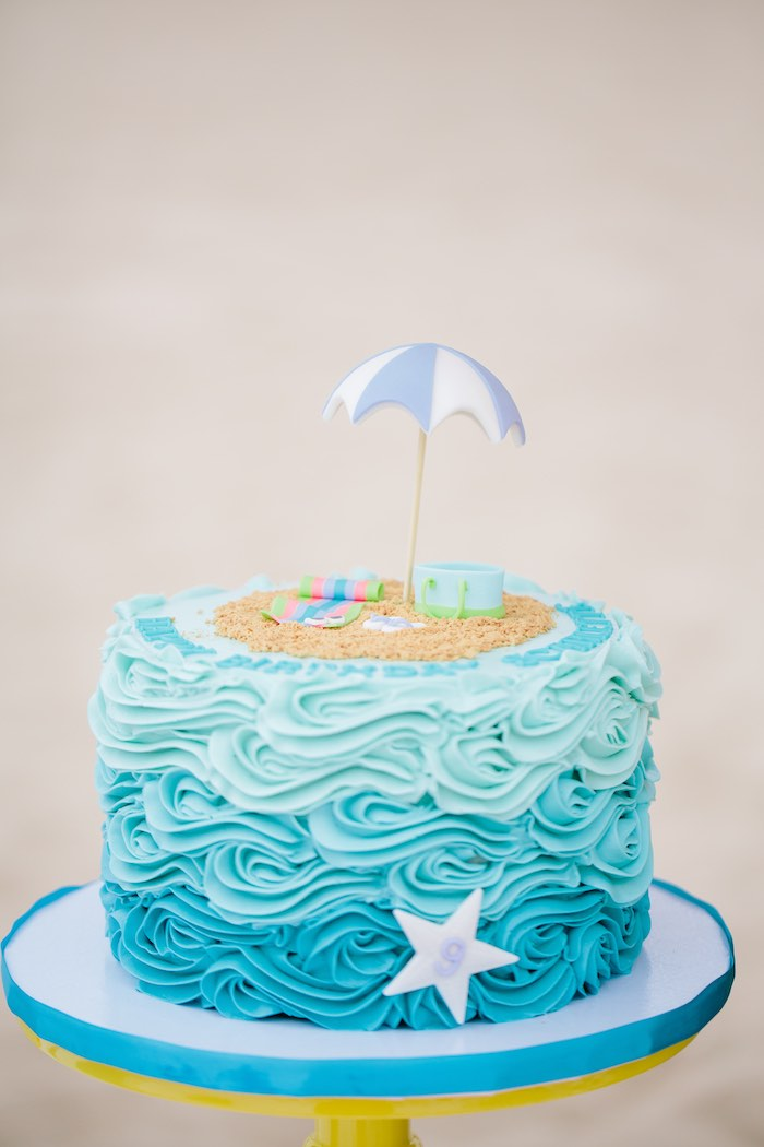 Ombre Beach + Wave Cake from a Colorful Seaside Birthday Party on Kara's Party Ideas | KarasPartyIdeas.com (27)