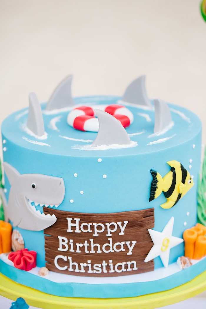 Under the Sea Swimming Shark Cake from a Colorful Seaside Birthday Party on Kara's Party Ideas | KarasPartyIdeas.com (25)