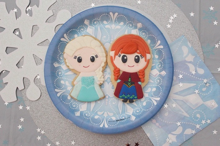 Anna and Elsa Cookies from a Frozen Elsa and Anna Cookie Tutorial on Kara's Party Ideas | KarasPartyIdeas.com