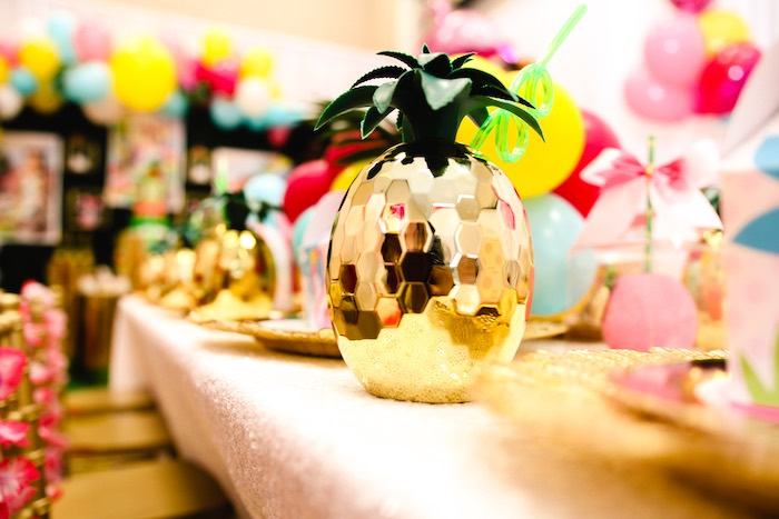 Gold Pineapple Cup from a First Birthday Luau on Kara's Party Ideas | KarasPartyIdeas.com (16)