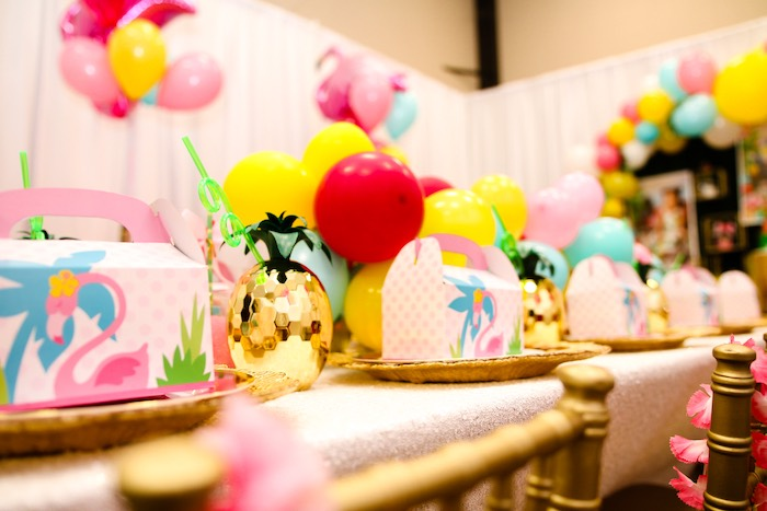 Girly Luau Party Table from a First Birthday Luau on Kara's Party Ideas | KarasPartyIdeas.com (14)