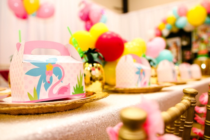 Luau Themed Gable Box + Table Setting from a First Birthday Luau on Kara's Party Ideas | KarasPartyIdeas.com (13)