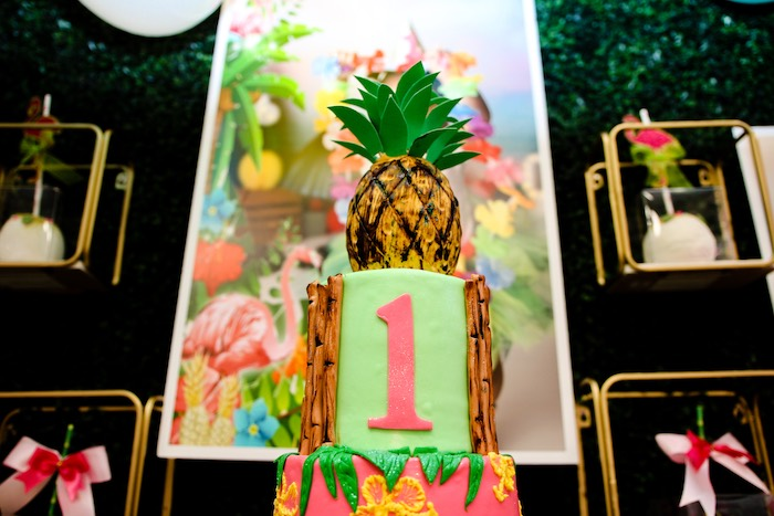 Pineapple Cake Topper from a First Birthday Luau on Kara's Party Ideas | KarasPartyIdeas.com (11)