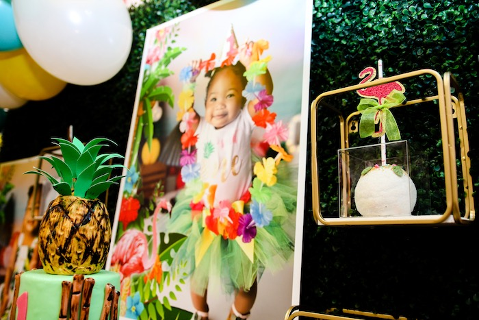 Metal Shadowbox + Backdrop Shelf from a First Birthday Luau on Kara's Party Ideas | KarasPartyIdeas.com (9)