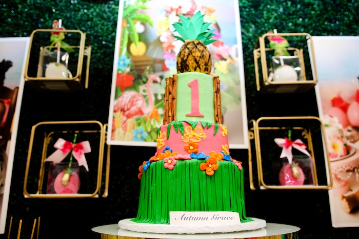 Tropical Themed Birthday Cake from a First Birthday Luau on Kara's Party Ideas | KarasPartyIdeas.com (8)