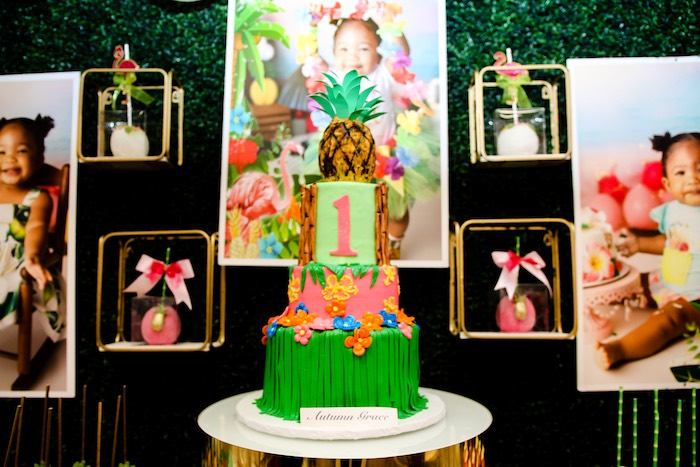 Tropical Themed Birthday Cake from a First Birthday Luau on Kara's Party Ideas | KarasPartyIdeas.com (25)