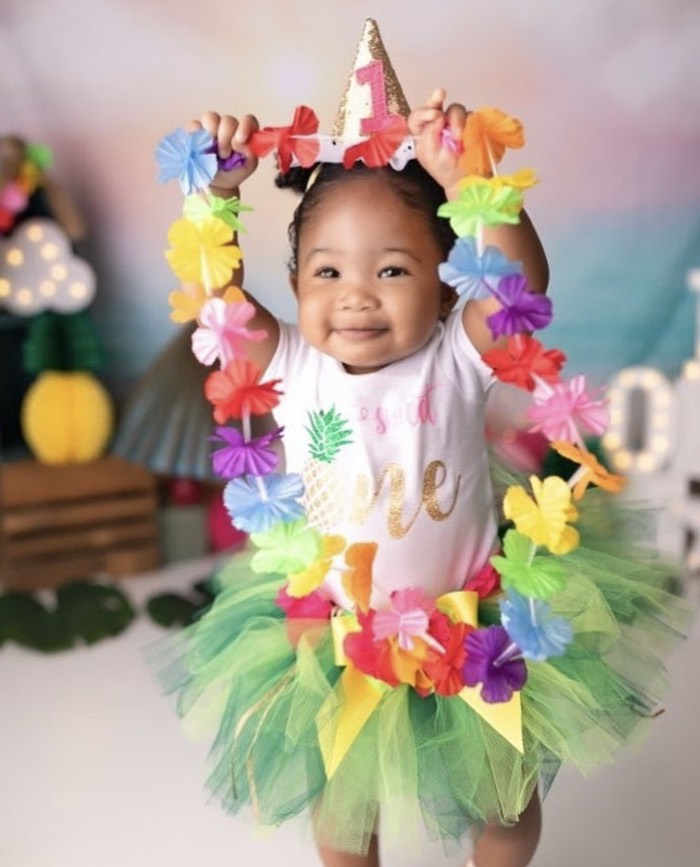 Tropical Photo Op from a First Birthday Luau on Kara's Party Ideas | KarasPartyIdeas.com (6)