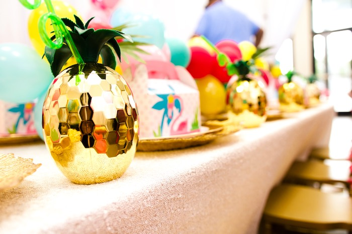 Gold Pineapple Cup from a First Birthday Luau on Kara's Party Ideas | KarasPartyIdeas.com (23)