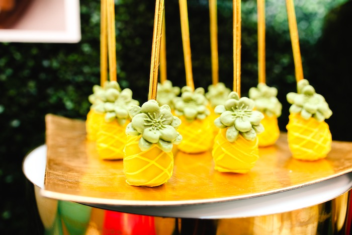 Pineapple Cake Pops from a First Birthday Luau on Kara's Party Ideas | KarasPartyIdeas.com (19)