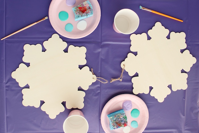 Snowflake Painting Activity from a Frozen 2 Birthday Party with DIY Backdrop on Kara's Party Ideas | KarasPartyIdeas.com (39)