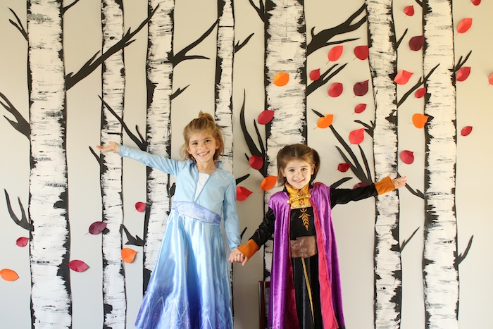Birch Tree Backdrop + Photo Booth from a Frozen 2 Birthday Party with DIY Backdrop on Kara's Party Ideas | KarasPartyIdeas.com (19)