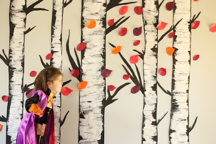 Birch Tree Backdrop from a Frozen 2 Birthday Party with DIY Backdrop on Kara's Party Ideas | KarasPartyIdeas.com (18)
