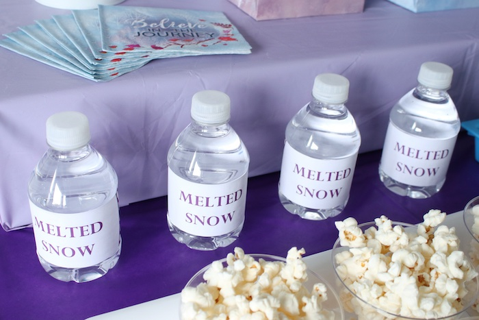 Melted Snow Water Bottles from a Frozen 2 Birthday Party with DIY Backdrop on Kara's Party Ideas | KarasPartyIdeas.com (13)