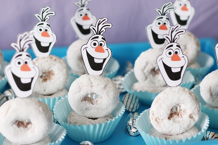 Olaf Donut Cupcakes from a Frozen 2 Birthday Party with DIY Backdrop on Kara's Party Ideas | KarasPartyIdeas.com (12)